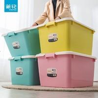 CHAHUA 茶花塑料家用收纳箱大号50L衣物被子整理储物箱收纳盒带盖 红色 50L*3