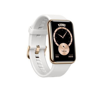 HUAWEI 华为 WATCH FIT 雅致款 智能手表 46mm 黑金 不锈钢 凝霜白橡胶表带 (GPS、血氧)