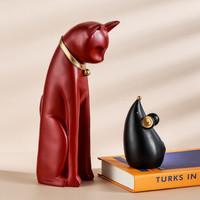 Hoatai Ceramic 华达泰陶瓷 创意猫和老鼠治愈系家居摆件 红猫黑鼠