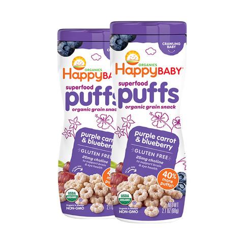 HappyBABY 禧贝 有机泡芙 蓝莓紫胡萝卜味 60g*2罐