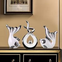 Hoatai Ceramic 华达泰陶瓷 现代轻奢客厅摆件 银白色亲嘴鱼 财源广进