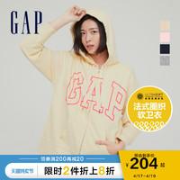 Gap 盖璞 Gap女装LOGO法式圈织软卫衣975199 2021春季新款女士宽松潮流开衫