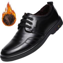 北欧图(BEIOUTU)商务休闲皮鞋男士正装鞋英伦百搭耐磨牛皮系带低帮男鞋子 118 黑色-加绒 43