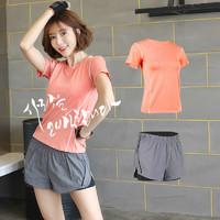 豪客虎  运动短袖套装女 桔色+灰色短裤 S