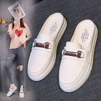 女鞋百搭小白鞋女2021韩版春季网红超火包头外穿平底半拖休闲鞋子