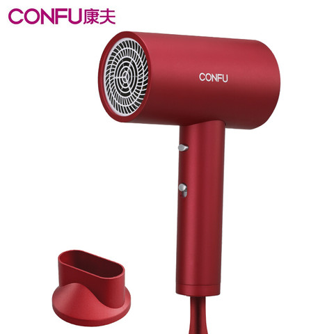 Kangfu 康夫 康夫(CONFU)电吹风机家用大功率1800W快速干电吹风筒2000万负离子护发轻盈便携恒温冷热风 KF-3143 酒红色