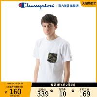 Champion 迷彩男女同款运冠军动休闲修身圆领短袖T恤男夏