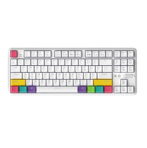 AJAZZ 黑爵  K870T 87键 双模无线机械键盘 白色 国产茶轴 RGB