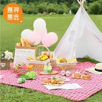 走飞丫 野餐垫防潮垫  红白格子(1.5x1.3米)