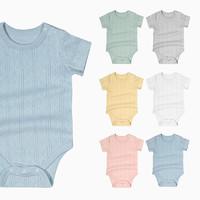 Minizone 8色可选|minizone夏季男女宝宝新生婴儿短袖轻薄网眼纯棉三角哈衣爬服连体包屁衣0-2岁