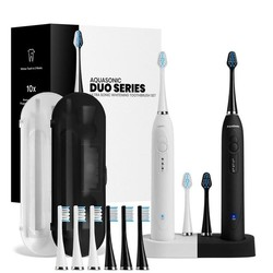 AquaSonic 超声波电动牙刷套装(电动牙刷*2+替换刷头*10+旅行盒*2+双头充电座)