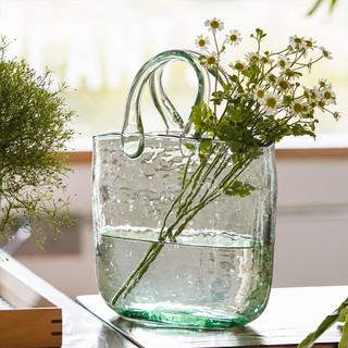 鸟与花家 网红包包花瓶摆件透明插花ins风客厅手提包玻璃花瓶水养 蓝色手提包花瓶