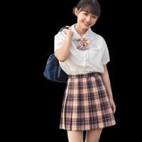 森旅人 夜泊秦淮·双子格 JK制服 女士格裙 黄棕 42cm XS