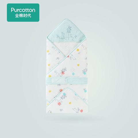Purcotton 全棉时代 婴儿抱被纱布绉布微厚抱被纯棉新生幼儿宝宝襁褓包被盖被四季通用 萌趣童真90cm