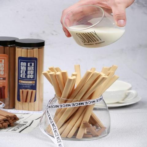 无添加小零食磨牙棒牛奶阿拉棒手指饼干棒 190g/盒(奶油味+巧克力味各1盒)