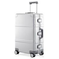 NINETYGO 90分 90分金属拉杆箱 航空级镁铝合金登机箱 超静音万向轮旅行箱 24英寸旅行箱 银色