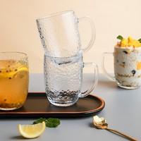 TANGZUN 唐尊 日式锤纹带把玻璃杯 310ml