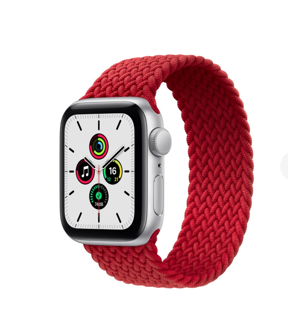 Apple Watch 银色铝金属表壳 编织单圈表带  红色 40毫米  4号