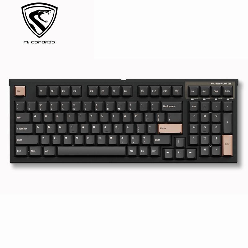 FL·ESPORTS 腹灵 FL980 CPS 有线机械键盘 红轴 98键 dark晚樱