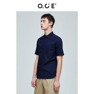 OCE男装夏季新款短袖衬衫男商务休闲衬衣基础款纯色工装半袖