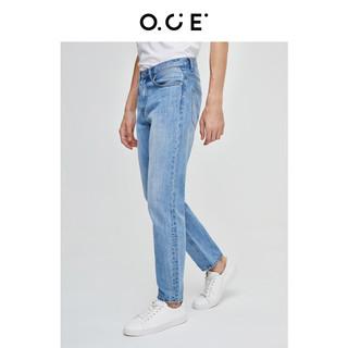 OCE男装 浅色牛仔裤男春季新款水洗磨白修身显瘦小脚裤长裤