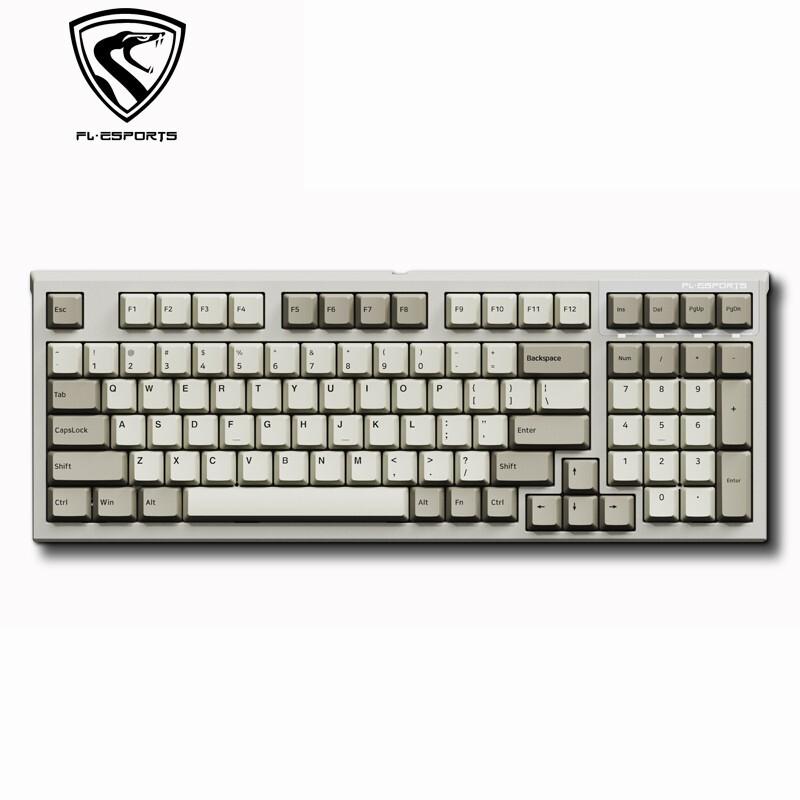 FL·ESPORTS 腹灵 FL980 CPS 有线机械键盘 98键 白轴 复古经典灰白配色