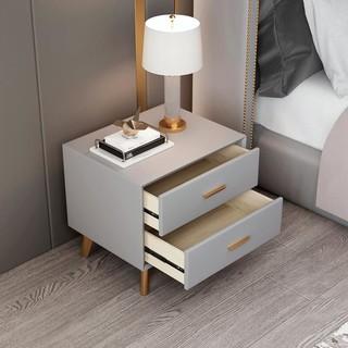 简约现代床头柜轻奢北欧风皮质ins简易免安装迷你实木窄储物柜