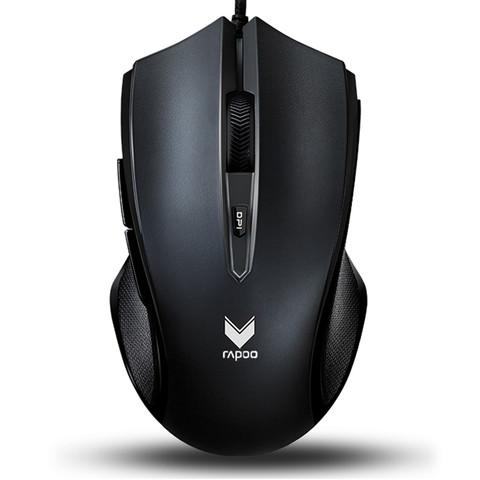 RAPOO 雷柏 V20S 有线鼠标 3000DPI 单光 磨砂黑