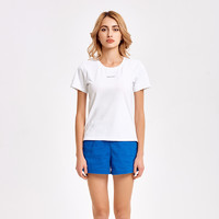 fooxmet亲肤凉感T恤纯白色时尚夏季新款运动休闲短袖圆领男女情侣 女S 白色