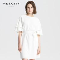 ME&CITY MECITY女装气质轻熟风荷叶边腰间系带收腰连衣裙