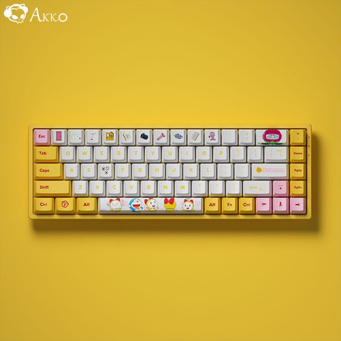 PLUS会员:Akko 艾酷 3068 蓝牙5.0/有线双模 RGB 无线机械键盘 哆啦美配色