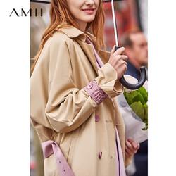 AMII Amii极简韩版欧货风衣女2020春季新款撞色拼接翻领配腰带宽松外套