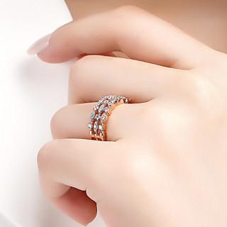 时尚大气红18K金共42分钻戒钻石戒指精致群镶钻石女戒