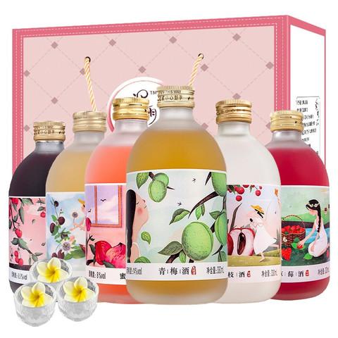 通明山  果酒 蜜桃梅酒百香果草莓荔枝山楂330ml*6瓶混合装微醺礼盒送礼 内含酒杯