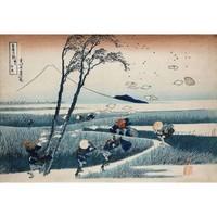 艺术家的礼物 葛饰北斋 浮世绘 复刻版画-郡州江尻 中号实木框 40x54cm