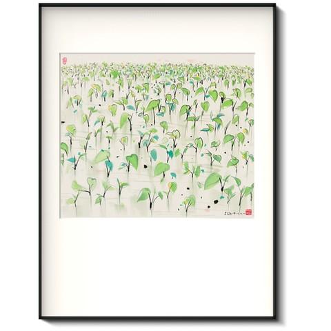 荣宝斋 吴冠中 复刻画《禾苗》新中式挂画 50*70 有框 喷绘