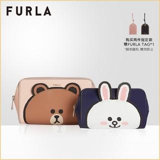 FURLA芙拉LINEFRIENDS2021春夏新品女士布朗熊可妮兔化妆包两件套