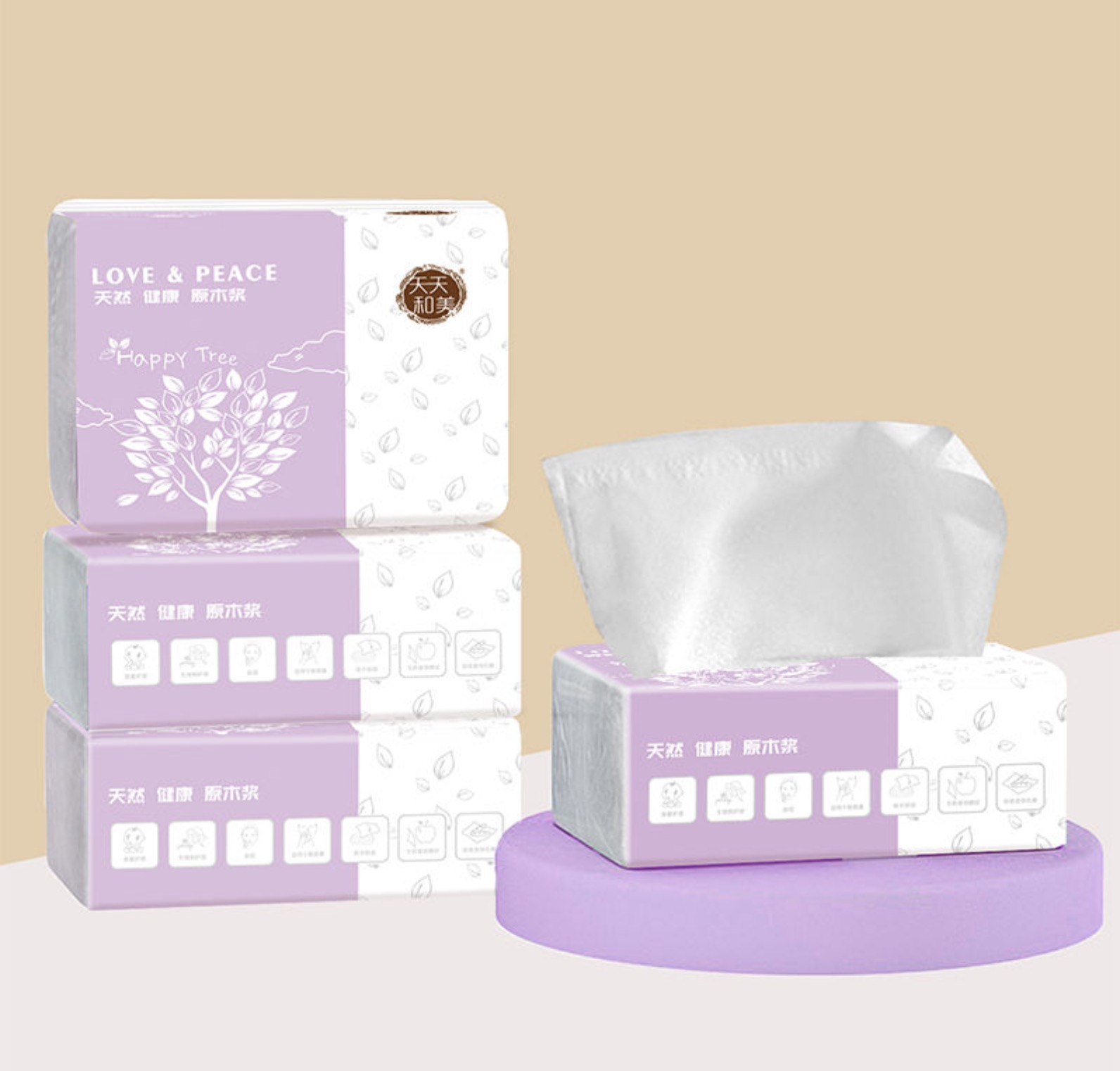 天天和美 原木抽纸4包母婴加厚柔韧家用实惠装纸巾餐巾纸面巾纸