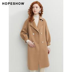 HOPESHOW 红袖 红袖羊绒大衣女中长款冬新学院风显瘦百搭气质双面毛呢外套