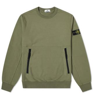Stone Island Junior Cotton Fleece Zip Sweatshirt Salvia | END.