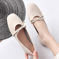 DAPHNE 达芙妮 B03339冬白 女士方头玛丽珍单鞋