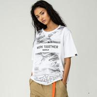 CAT 卡特彼勒 CJ1TSP16641C10 情侣款印花T恤
