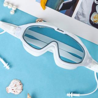 佑游 泳镜防水防雾高清专业近视男女士大框游泳眼镜儿童潜水泳帽套装备 透明粉色