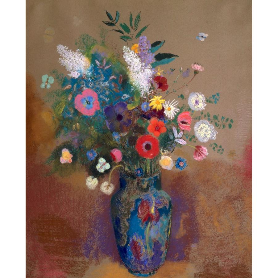 艺术家的礼物 雷东花卉名作复刻版画-瓶中花束 小号实木框 45x60cm