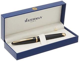 waterman 威迪文 海韵黑夜海洋珍漆钢笔 F纯金笔尖 蓝色墨水(s0700300)