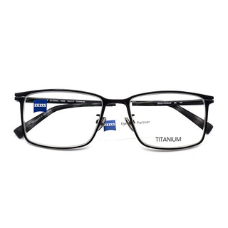 蔡司(ZEISS)镜架男女蔡司镜片1.67佳锐镜片免费配镜片全框钛材+板材ZS-85002-F090眼镜框黑框黑腿57mm