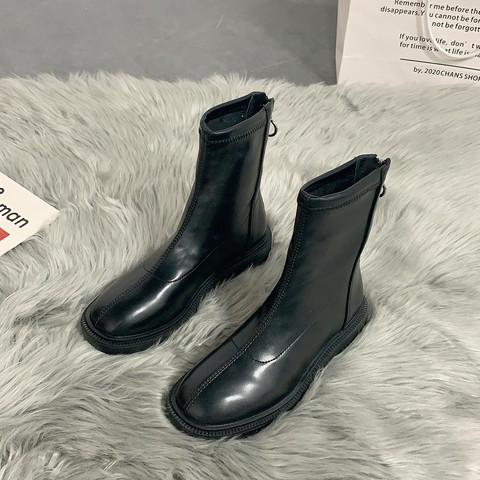 XDLONG 喜得龙 英伦风马丁靴女2021新款韩版百搭薄款瘦瘦短靴春秋显脚小单靴