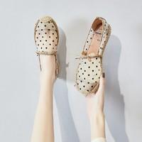 J&M 单鞋女镂空鞋一脚蹬女鞋夏新款凉鞋女复古休闲鞋子女