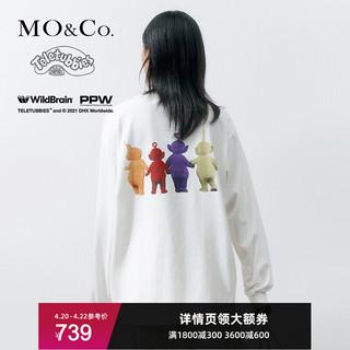 MO&Co. 摩安珂 新疆棉MOCO2021春季新品卡通印花纯棉天线宝宝圆领长袖T恤上衣女 本白色 M