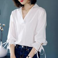 恒源祥 2021新品薄五分袖纯色翻领套头棉女式衬衫
